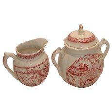 Child's Staffordshire 19th Century Transfer Ware tea set SUGAR & CREAMER - Girl with Dog