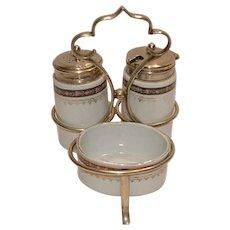Vintage Altrohlau PORCELAIN Condiment Set with Salt Pepper Shakers & Mustard Pot in a EPNS Caddy