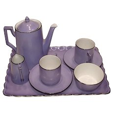 RARE Vintage Altrohlau Child's Coffee Service Purple w/ Black Art Deco