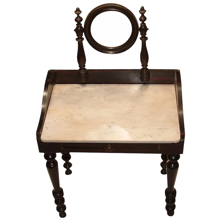 Antique French Rosewood Doll Vanity Table With Marble Top And Swivel :  Mollyu0027s Antique, Toy And Doll Emporium | Ruby Lane
