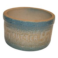 Rare Stoneware Salt Glazed Butter Crock CA. 1800's Blue and White with Swastika (meant Peace before Hitler)