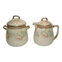 "Vintage Giant Sugar Bowl and Creamer ""Prince Regent China"" Bavaria Germany Roses"