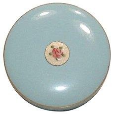 Vintage Baby Blue Metal Dresser Powder Box with Guilloche' Enamel Rose Medallion