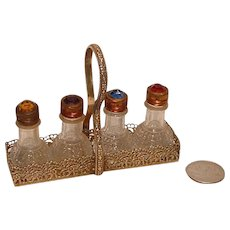 "CZECH Irice ""Stubby"" Basket / Caddy of Four Never Used Perfume Bottles"