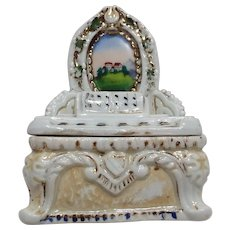 Victorian STAFFORDSHIRE Fairing Trinket Porcelain Box Piano with Sheet Music and a Hand Painted Landscape Picture