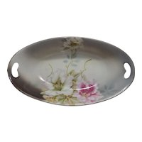 Antique P V Kloster Vessra of Germany Hand-Painted Oval Relish Dish with Floral Motif, Gilding and Gold Accents / Double Open Handles