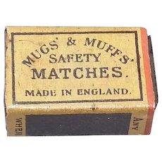 Vintage Miniature Safety Match Box - Mugs' and Muff's Safety Matches