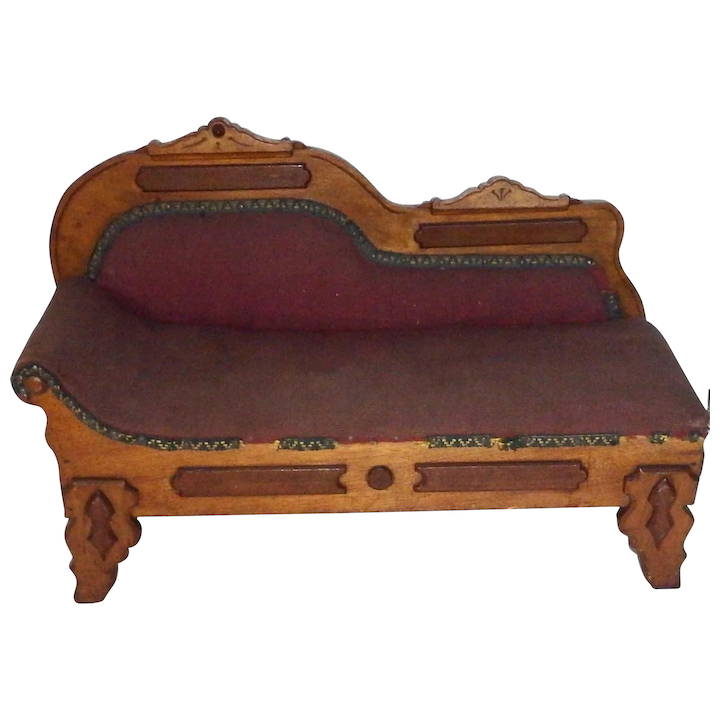 Fabulous Antique Victorian Fainting Couch Recaimer Salesman Sample Or For French German Fashion Doll Unemploymentrelief Wooden Chair Designs For Living Room Unemploymentrelieforg