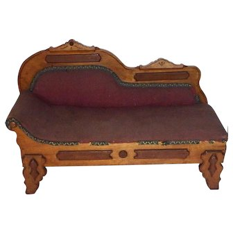 Antique Victorian Fainting Couch Recaimer Salesman Sample or for French / German Fashion Doll