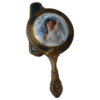 Art Nouveau Porcelain portrait hand mirror, hair brush and clothes brush - Woman Laying in a field of Lilies of the Valley! THREE PIECES!!