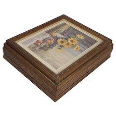 Vintage Wood Carved Jewelry Box w/ mirror