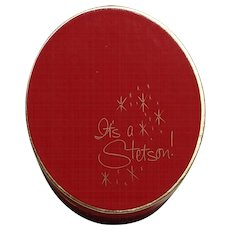"Vintage Red Sample ""It's A Stetson"" Miniature Hat Box WITH HAT!"