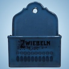 Antique Robins Egg Blue German Miniature Enamelware Wall Onion Holder for German Dollhouse Kitchen - Zwielbeln