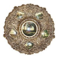 Stunning Ornate SOLID Brass Wall Charger / Plaque with Hand Painted Porcelain Inserts C  early 1900's
