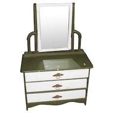 RARE ANTIQUE Victorian Salesman Sample OR Large Doll Dresser Bureau Wardrobe with Mirror and Original Ornate Brass Pulls