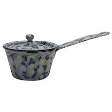 Antique Confetti End of Day Enamelware Granite Ware Miniature Toy Covered Pot Sauce Pan RARE