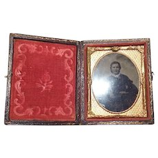 Ruby Glass Ambrotype of a Beautiful Lady in Leather Embossed Case- 9th Plate