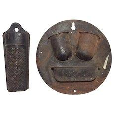 Antique Vintage Pair of Metal Primitive 1) Metal Nutmeg Grinder 2)Match Safe with Striker