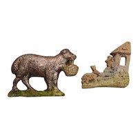 Two Antique German Bisque Ornaments - Animals