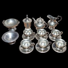 Vintage Child's French Toy Doll Pewter Metal Tea set w/ extras