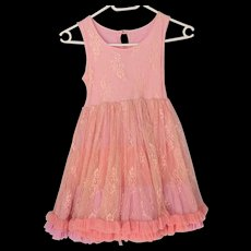 Vintage Child's Princess RUFFLE European Lace Covered Party Dress