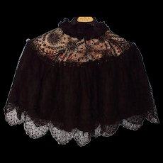Antique Black Silk Ruffle Neck and Lace over a Silk Floral Pattern Opera Cape