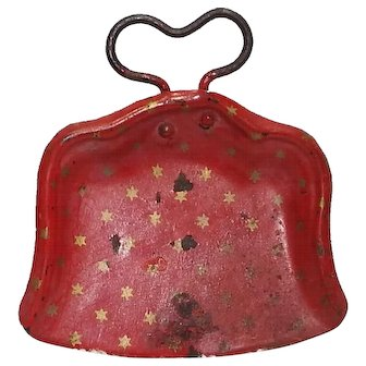 Vintage German Dollhouse Toy Dust Pan Red Enamelware with Dots