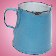 Dollhouse Toy Robins Egg Blue Enamelware Creamer or Milk Jug