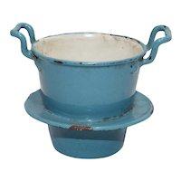 Dollhouse Toy Robins Egg Blue Enamelware Double Boiler