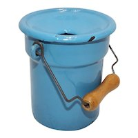 Dollhouse Toy Robins Egg Blue Enamelware Slop Bucket w/ lid