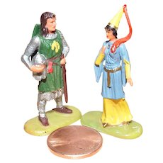 Vintage Elastolin Figure 40 mm Sir Gawain & Princess Aleta