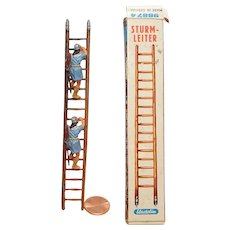 Vintage Elastolin Figure 40 mm Scaling Ladder with climbers and box