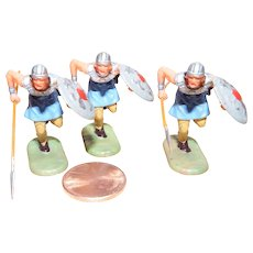 Vintage Elastolin Figure 40 mm 3- Running Normans w/ Spears