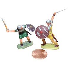 Vintage Elastolin Figure 40 mm 2- Normans w/ Swords