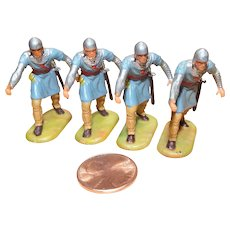 Vintage Elastolin Figure 40 mm 4 Norman Spearmen