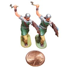 Vintage Elastolin Figure 40 mm 2- Norman Warriors w/ Axes