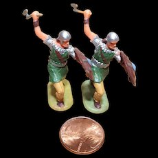 Vintage Elastolin Figure 40 mm 2- Norman Warriors w/ Axes
