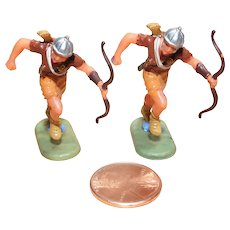 Vintage Elastolin Figure 40 mm 2- Running Archers