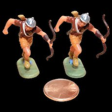 Vintage Elastolin Figure 40 mm 2- Running Archers