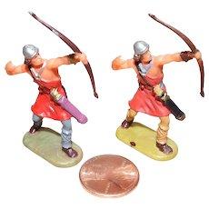 Vintage Elastolin Figure 40 mm (2) Archers Shooting Up