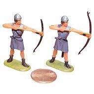 Vintage Elastolin Figure 40 mm (2) Archers shooting level