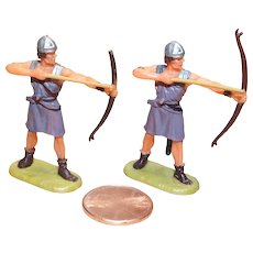 Vintage Elastolin Figure 40 mm (2) Archers shooting level