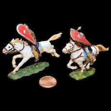 Vintage Elastolin Figure 40 mm (2) Mounted Warriors - One Saxon and One Norman