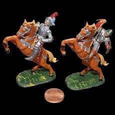 Vintage Elastolin Figure 40 mm (2) Mounted Saxon Warriors Knights