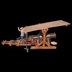 Vintage Elastolin Figure 40 mm Brass Cannon #9804 Bombard Model with Shield