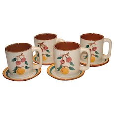 Stangl  Fruit Pattern Mugs with underplates