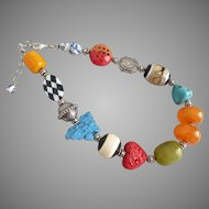 Short, Bold, Asian Inspired Artisan Necklace with Multicolored Beads