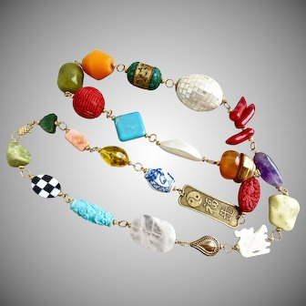"""Bright and Bold Long Asian Themed Statement Necklace, 40"""""""