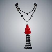 Red Resin Buddha Pendant with Black Jet Glass Tassel Necklace, 34 Inches