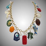 Asian Themed Artisan Statement Necklace, 20 Inches